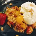 Loquat, Strawberry & Macadamia Crumble