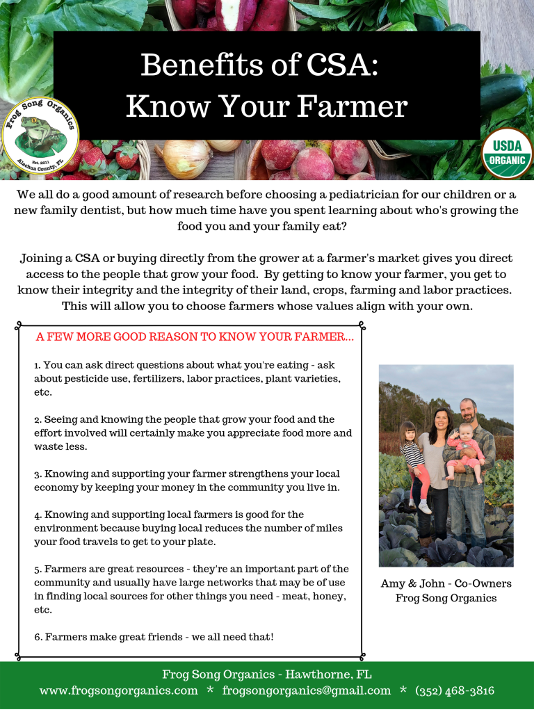 Benefits of CSA: Know Your Farmer - Frog Song Organics